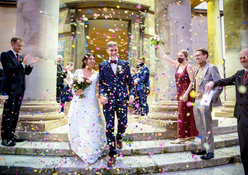 Confetti throw outside All Souls church wedding London