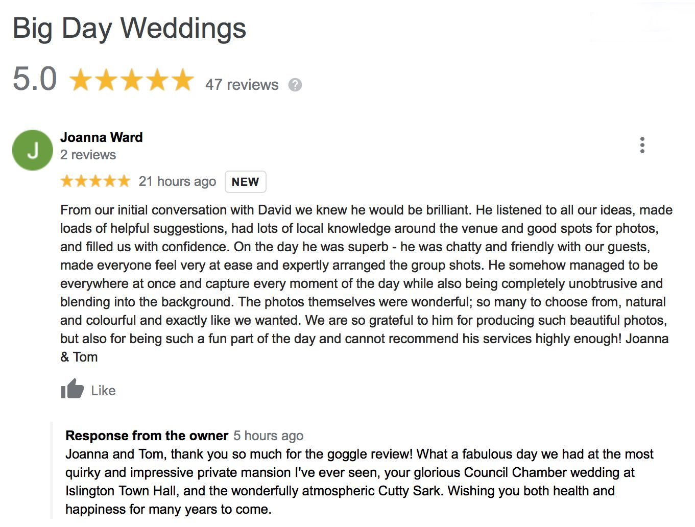 Our 47th 5 STAR Google Wedding Review London Wedding Photographers